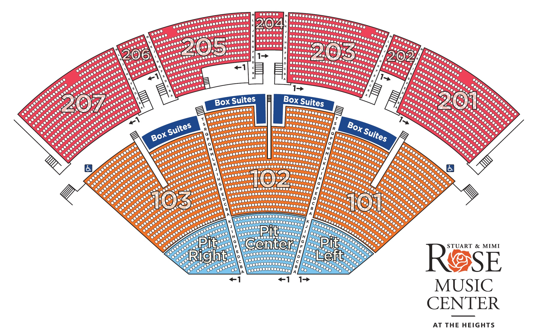 Seating Map Rose Music Center At The Heights