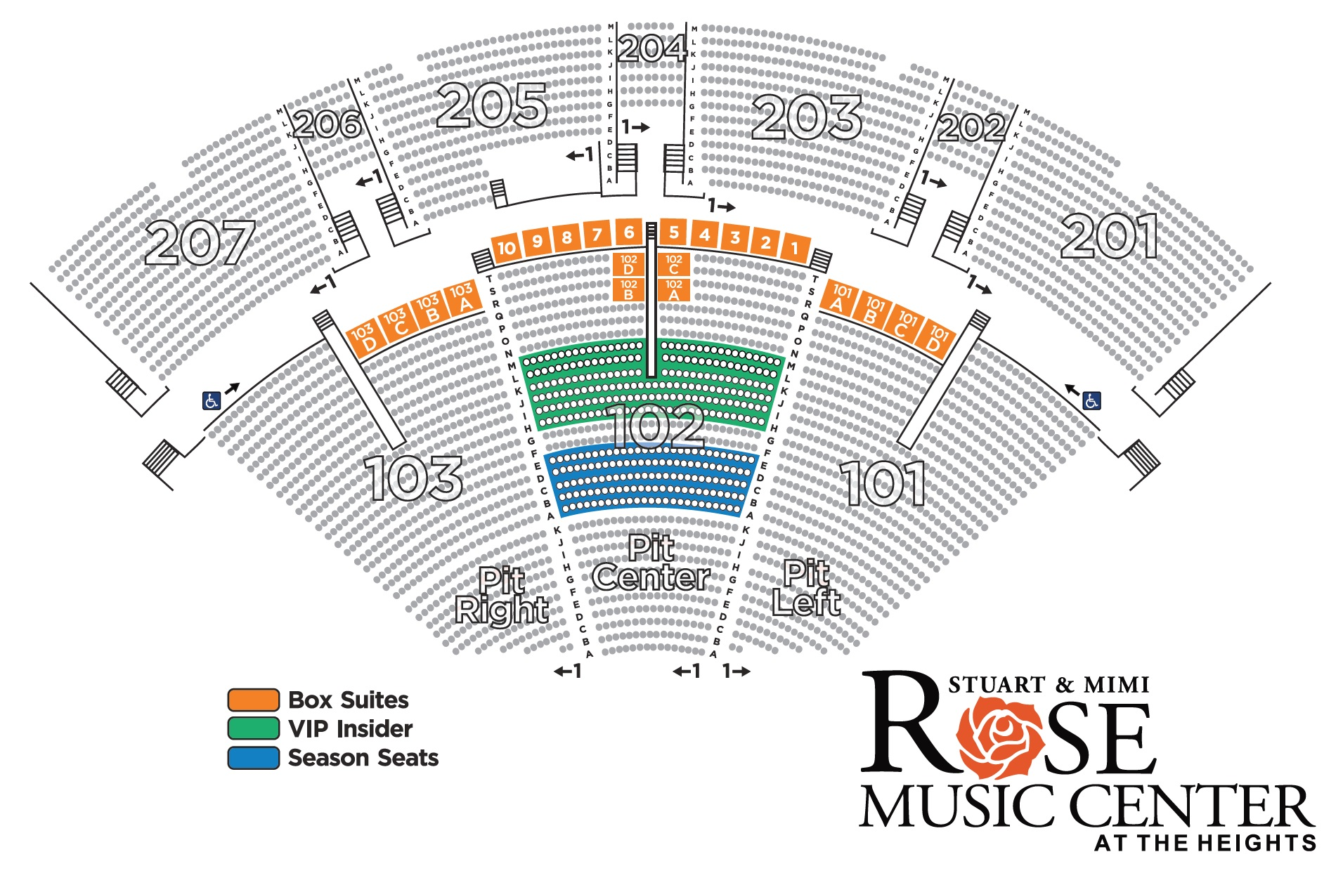 season ticket seating map rose music center at the heights. Black Bedroom Furniture Sets. Home Design Ideas